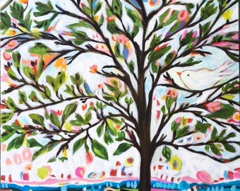 Bohemian Tree of Life with Bird Original Abstract Painting 30 x 40 Karen Fields