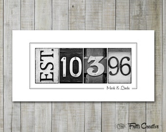 Anniversary Date Print, Est Date Print, UNFRAMED, wedding gift, established date print, alphabet photography
