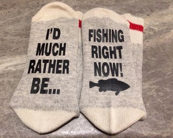 I'd Much Rather Be ... Fishing Or Hunting Right Now (Word Socks - Funny Socks - Novelty Socks)