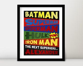 Children Baby Boy Nursery Room Decor Personalized The Next Superhero Typography Art Wall Canvas Print DC Marvel - DIY Digital Printable