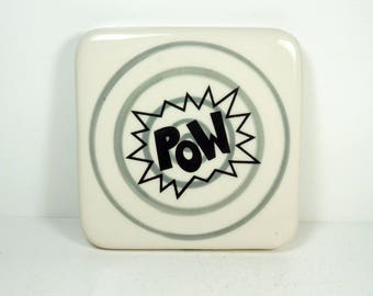 tile with grey gray pinstripe bullseye and POW print, ready to ship