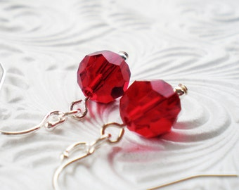 Red Swarovski Crystal Drop Earrings, Sterling Silver Earrings, Crystal Jewelry, Perfect Gift for her, Birthstone Jewelry - Annie