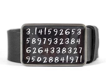 Pi Digits Belt Buckle, Math Belt Buckle, Science Belt Buckle, Geek buckle, black board, chalk