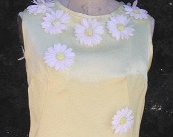 SALE 1960s Flower Power Silk Saiseys Trim Yellow Satin Short Dress Size 8  Item # 641 Resort/Spring Apparel