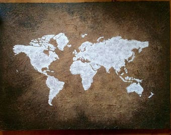 Antique Style World Map on Canvas