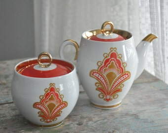 Soviet Vintage porcelain Teapot and Sugar Bowl Handpainted 1970-s. From Russia / USSR/ Retro Home Decor