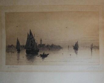 vintage etching of Venice signed artist A F Bunner  etcher John h millspaug