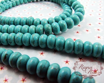 Turquoise Dyed Howlite Smooth Rondelle Beads, blue beads, howlite beads, dyed gemstone rondelles, dyed gemstone strands -  reynareds