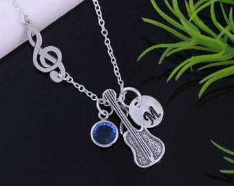 Sterling silver Guitar Necklace, Treble Clef Guitar Necklace. up to 2 Personalized charms, Musical Note Guitar charm necklace, by MonyArt