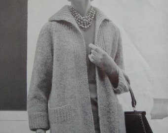 1960's Vintage Knitting Pattern Women's Sweater Coat PDF 1156
