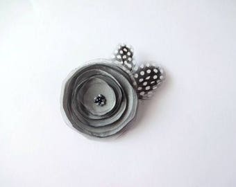 Handmade Gray Satin and Organza Flower Brooch with Feathers