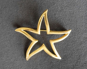 Vintage Gold Cutout Starfish Brooch, Pin, Nautical Sea Star, Statement Jewelry Piece, Gift for Her