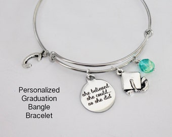 Graduation Gift. Bangle Bracelet.  She Believed She Could So She Did. Graduation Cap. Initial Bracelet. Girl Power. Personalized Bracelet.