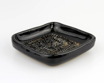 Handmade Ceramic Garlic Grater Rock Black