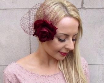Large Burgundy Deep Wine Red Rose Net Flower Hair Clip 1950s Fascinator Vtg 4058