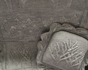 Hand Knitted Tree of Life Throw with Matching Cushion, Blanket, Baby Cot Blanket