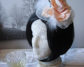 Lady Devonshire Fascinator,  Pale Pink with White Feathers & Pearls,  Comb Mounted, Downton Abbey, British Polo, Royal Ascot, AshTreeMeadow