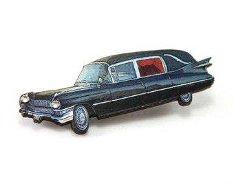 Hearse Funeral Car Hair Clip with Rhinestone Headlights