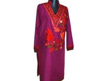 Fuchsia embroidered dress tunic Pink Floral embroidery kurta  ethnic dress  shirt Indian kurta Boho hippie bohemian tunic Tribal shirt