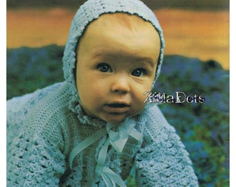 Baby Crochet Pattern - Coat and Bonnet to fit birth to 3 months