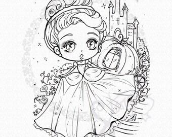 Cinderella DIGITAL STAMP Instant Download