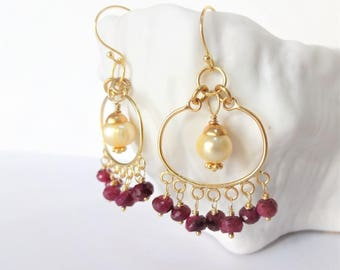 RUBY MOON Gemstone Earrings, Red Ruby, Freshwater Pearl & Bali Gold Vermeil Chandelier Earrings, wine red, creamy white,