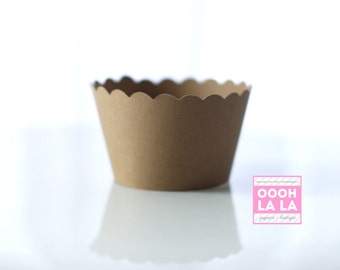 MADE TO ORDER Kraft Paper Cupcake Wrappers/Holders- Set of 12