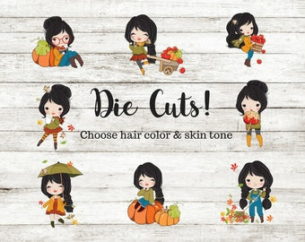 Planner Stickers Die Cuts Fall Girl