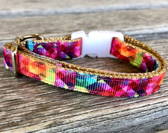 Kaleidoscope Cat Collar, Kitten Collar Boy, Breakaway Cat Collar, Girl Cat Collar, Blue Kitten Collar, Abstract Cat Collar, Safety Collar