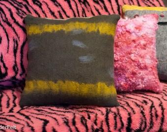 Bright Yellow Charcoal Grey Striped Nunofelt Pillow