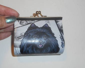 Black Pomeranian Dog Hand Painted Coin Purse Vegan