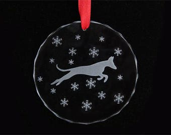 Podenco Ornament - Ibizan Hound - Christmas Ornament - Glass - Podenco