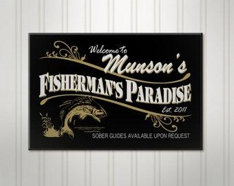 Personalized Fishing Sign, Fisherman ManCave Pub Sign, Personalized Sign, Personalized Beer Sign, Man Cave Bar Decor