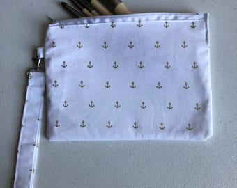 White with gold anchors small zippered pouch
