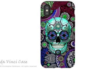Purple Paisley Sugar Skull iPhone X Tough Case - Dia De Los Muertos Dual Layer Case for Apple iPhone 10 - Sugar Skull Sombrero Night