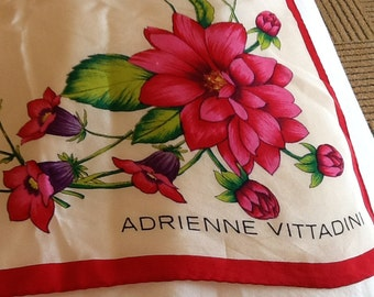 Vintage Square ADRIENNE VITTADINI Scarf Extra Large White With Various Colorful Flowers