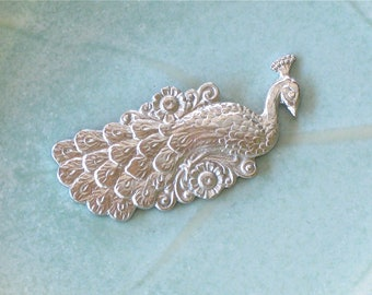 2 silver detailed PEACOCK jewelry embellishment  . 30mm x 13mm (ST32)