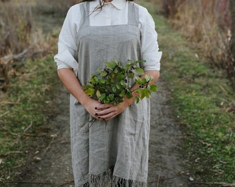 Handmade Linen Pinafore with Fringe / Linen Apron with Fringe