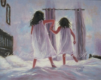 Two Sisters Jumping On the Bed Art Print, girls bedroom pink wall art blue, two brunette girls, Vickie Wade art, loving sisters