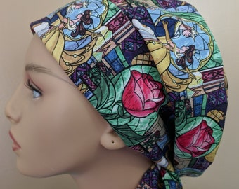 Woman's Hair wrap , Scrub Cap , Stained glass