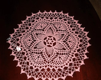 New Handmade Crocheted Jonquil Doily in Almond Pink 16 inches