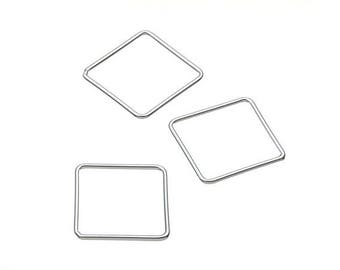 Square - 15 mm - 925 sterling silver charm