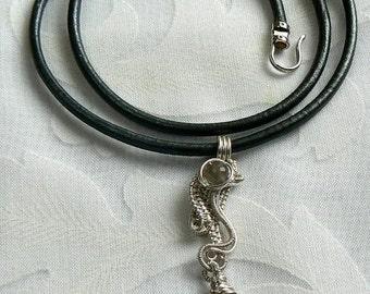Grey Moonstone with Metallic Grey Leather Cord