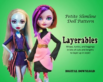 Autumn Layerables clothes sewing pattern for Petite Slimline Fashion girls: DC, High, Monster, Ever After, Dal, Obitsu & Super Hero