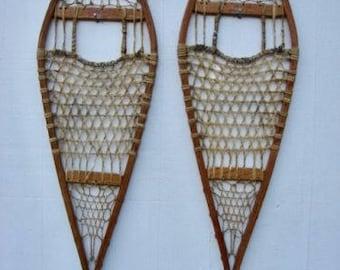 Antique Oxford Wooden Snowshoes Ellingwood West Paris Maine!!! 42x12