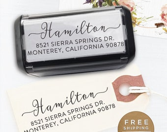 Custom Address Stamp, Custom Stamp, Self Inking Return Address Stamp, Wedding address stamp, Calligraphy Stamp, Personalized - Hamilton