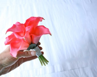 Hot Pink Calla Lilies Real Touch Nosegay (MiniBouquet or Handheld Corsage)