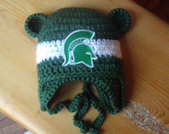 Michigan State University  Baby hat for 3 to 18 months - Spartan team colors