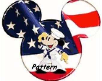 Saluting Mickey. Cross Stitch Pattern. PDF Files.
