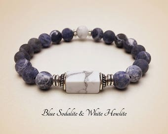 Gemstone Bracelet. Sodalite Bracelet. Mala Bracelet. Blue Bracelet. Yoga Bracelet. Mala Beads. Healing Bracelet. Reiki Bracelet #M170